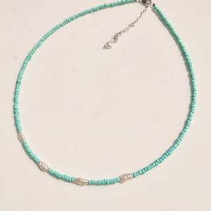 Silver turquoise and pearl choker